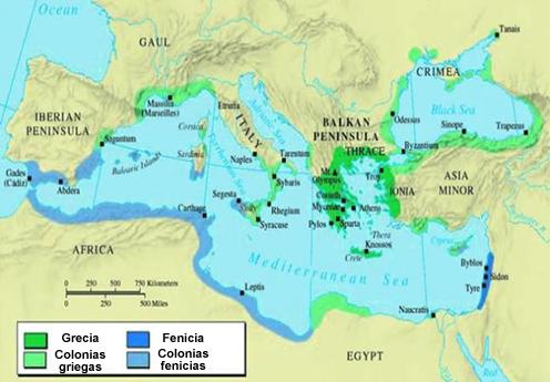 mapa mediterraneo colonias