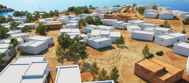 Una recreación permite descubrir cómo era el poblado fenicio de sa Caleta